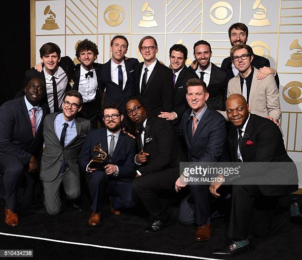 Sylva pose with their trophy for Best Contemporary Instrumental Album 'Snarky Puppy Metropole Orkest' in the press room during the 58th Annual Grammy...