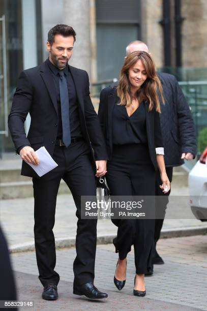 Sylvain and Samia Longchambon leaving Salford Cathedral after the funeral service of Coronation Street actress Liz Dawn