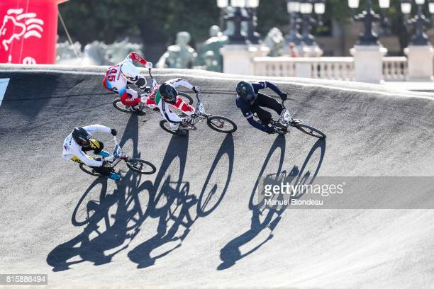 Sylvain Andre of France and Renaud Blanc of Switzerland compete during the UEC BMX European Championships 2017 on July 15 2017 in Bordeaux France