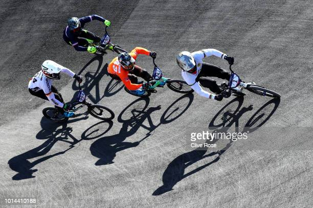 Sylvain Andre of France Justin Kimmann of the Netherlands Julian Schmidt of Germany and Theo Chapelle of France compete in the Men's BMX Motos Heat 1...