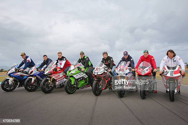 Sylvain Barrier of France and BMW Motorrad Italia Superbike Team Eugene Laverty of Ireland and Voltcom Crescent Suzuk Chaz Davies of Great Britain...
