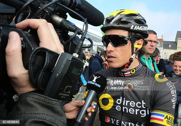 Sylvain Chavanel of France and Direct Energie answers to the media in the Place Charles de Gaulle before the start of the 2016 Paris Roubaix cycle...