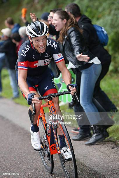 Sylvain Chavanel of France and IAM Cycling attacks the breakaway during stage eight of the 2014 Le Tour de France from Tomblaine to Gerardmer La...