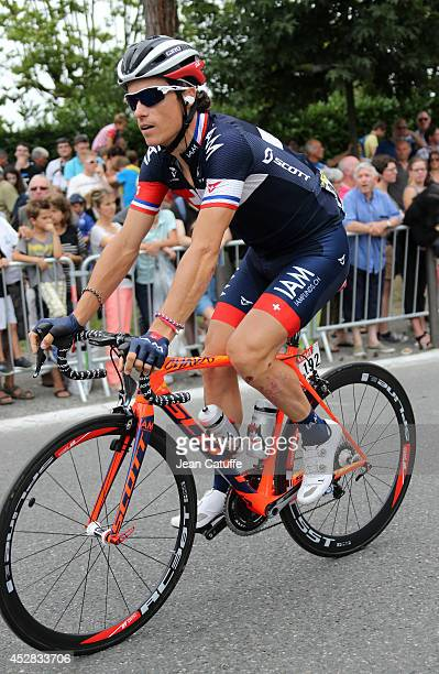 Sylvain Chavanel of France and Iam Cycling in action during stage eighteen of the 2014 Tour de France, a 146 km road stage from Pau to Hautacam on...