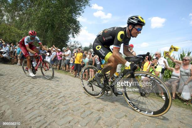 Sylvain Chavanel of France and Team Direct Energie / Nils Politt of Germany and Team Katusha / ont Thibault a Ennevelin Cobbles Sector 1 / Pave /...