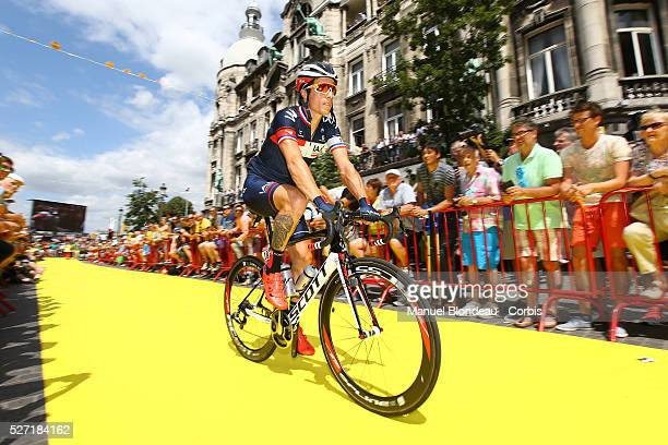 Sylvain Chavanel of France riding for IAM Cycling is pictured near the starting line during the 2015 Tour of France, Stage 3, Antverp - Huy, on July...