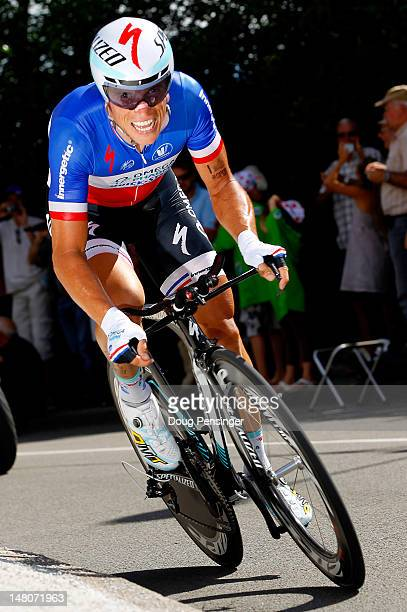 Sylvain Chavanel of France riding for Omega-Pharma-Quickstep races to fifth place in the individual time trial on stage nine of the 2012 Tour de...