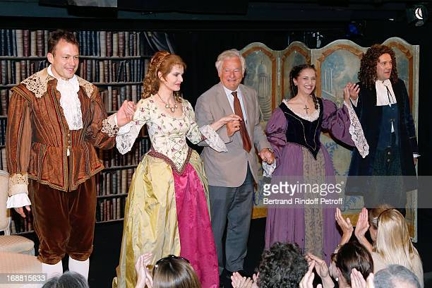 Sylvain Clama Cyrielle Clair Autor Hippolyte Wouters Pauline Macia and Sacha Petronijevic on stage after 'Ninon Lenclos ou La Liberte' Theater Play...