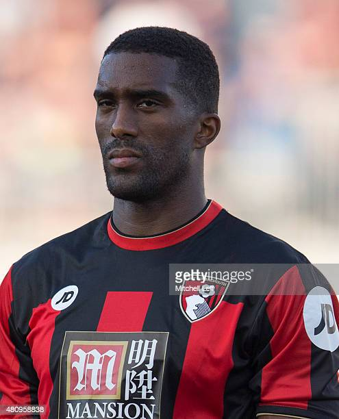 Sylvain Distin of AFC Bournemouth stands for the anthem in the friendly match against the Philadelphia Union on July 14, 2015 at the PPL Park in...