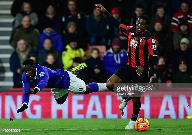 Sylvain Distin of Bournemouth and Romelu Lukaku of Everton compete for the ball during the Barclays Premier League match between A.F.C. Bournemouth...