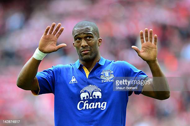 Sylvain Distin of Everton apologises to fans after defeat in the FA Cup with Budweiser Semi Final match between Liverpool and Everton at Wembley...