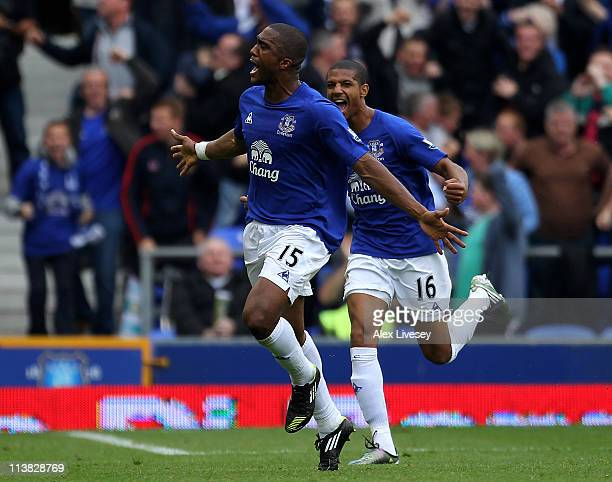 Sylvain Distin of Everton celebrates scoring his team's first goal during the Barclays Premier League match between Everton and Manchester City at...