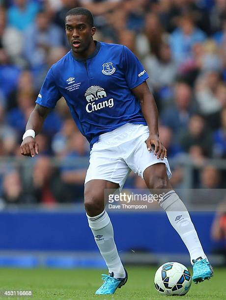 Sylvain Distin of Everton during the Pre-Season Friendly between Everton and Porto at Goodison Park on August 3, 2014 in Liverpool, England.