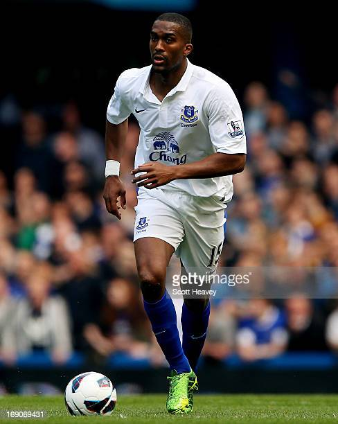Sylvain Distin of Everton in action during the Barclays Premier League match between Chelsea and Everton at Stamford Bridge on May 19, 2013 in...