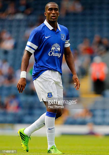 Sylvain Distin of Everton in action during the Pre Season Friendly match between Blackburn Rovers and Everton FC at Ewood Park on July 27, 2013 in...
