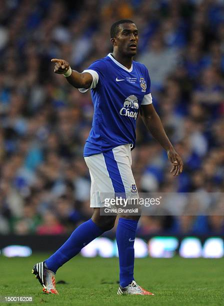 Sylvain Distin of Everton in action during the Pre-season Friendly match between Everton and AEK Athens at Goodison Park on August 8, 2012 in...