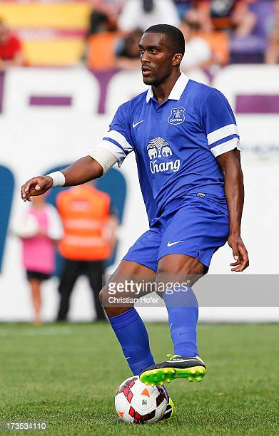 Sylvain Distin of Everton in action during the preseason friendly match between Austria Wien and FC Everton at the Generali Arena on July 14, 2013 in...