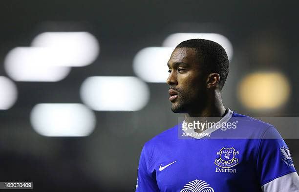 Sylvain Distin of Everton looks on during the FA Cup fifth round replay match between Everton and Oldham Athletic at Goodison Park on February 26,...