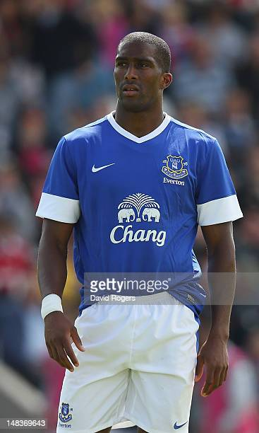Sylvain Distin of Everton looks on during the pre season friendly match between Morecambe and Everton at Globe Arena on July 14, 2012 in Morecambe,...