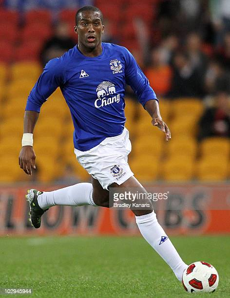 Sylvain Distin of Everton looks to pass during a pre-season friendly match between Brisbane Roar and Everton at Suncorp Stadium on July 17, 2010 in...