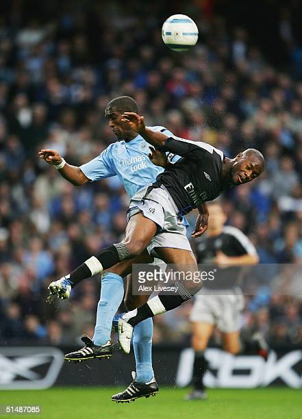 Sylvain Distin of Manchester City and William Gallas of Chelsea compete for the ball during the Barclays Premiership match between Manchester City...