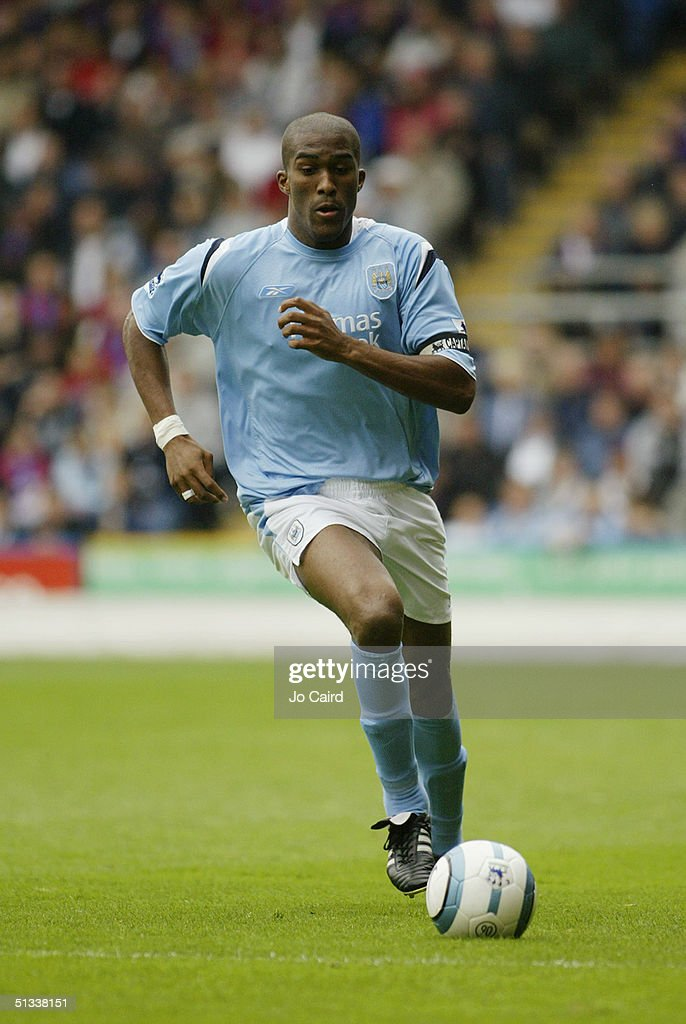 Sylvain Distin of Manchester City in action during the Barclays Premiership match between Crystal Palace and Manchester City at Selhurst Park on September 18, 2004 in London, England.