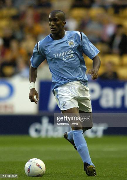 Sylvain Distin of Manchester City is shown in action during a preseason match against the Wolverhampton Wanderers at Molineux Stadium July 30 2004 in...