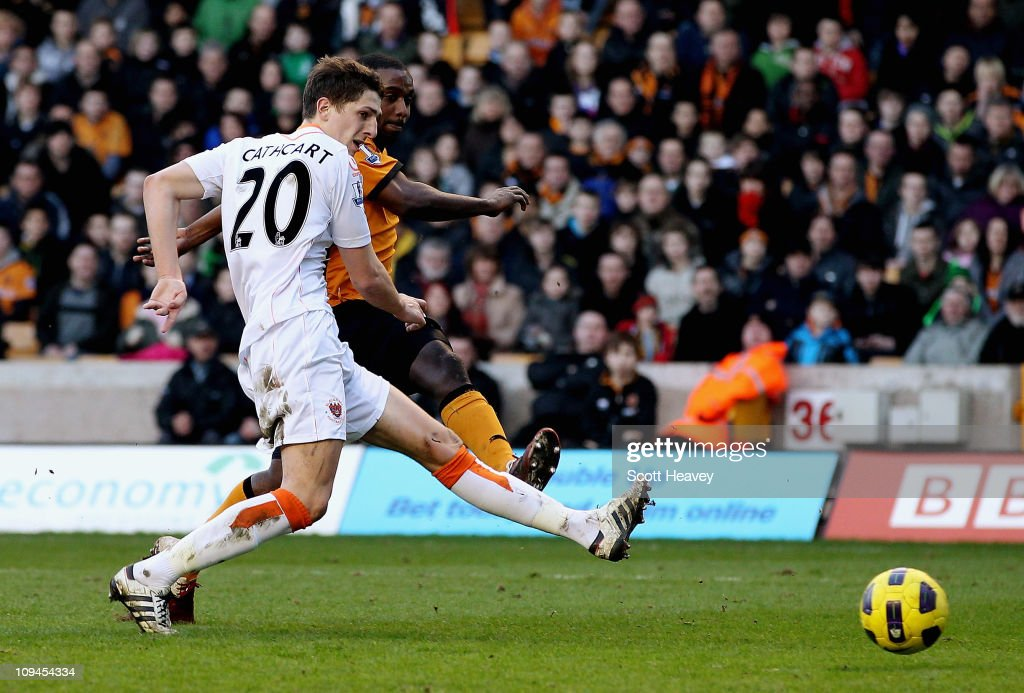 Sylvain Ebanks Blake of Wolves scores their fourth goal during the Barclays Premier League match between Wolverhampton Wanderers and Blackpool at Molineux on February 26, 2011 in Wolverhampton, England.