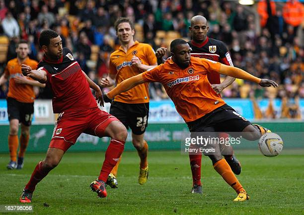 Sylvain EbanksBlake of Wolves scores the equalising goal during the npower Championship match between Wolverhampton Wanderers and Bristol City at...