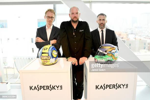 """Sylvain Filippi, D*Face and Aldo del Bo is seen at """"Art Goes Green"""" event at The New Museum in New York, organized by Kaspersky Lab in Collaboration..."""
