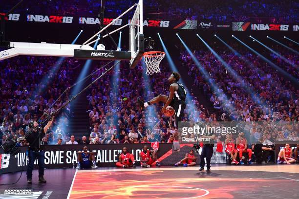 Sylvain Francisco competing in the NBA2K18 Dunk Contest during the All Star Game at AccorHotels Arena on December 29 2017 in Paris France
