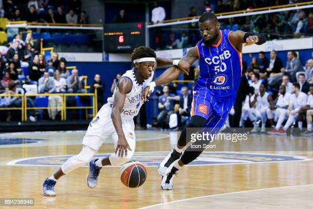 Sylvain Francisco of Levallois and Ben Bentil of Chalons Reims during the Pro A match between Levallois and Chalons Reims at Salle Marcel Cerdan on...