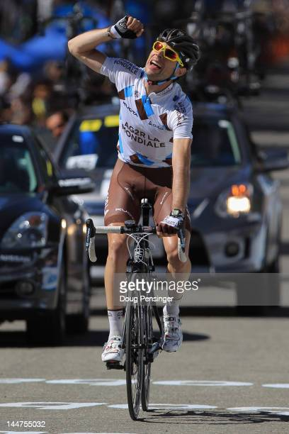 Sylvain Georges of France riding for AG2R La Mondiale crosses the finish line with a solo breakaway win in stage six of the Amgen Tour of California...