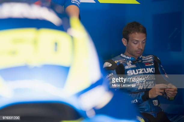 Sylvain Giuntoli of France and Team Suzuki ECSTAR prepares to start from box during the qualifying practice during the MotoGp of Catalunya Qualifying...