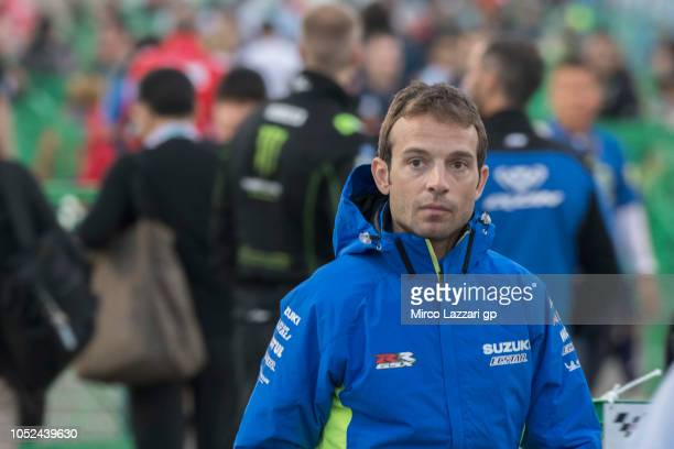 Sylvain Giuntoli of France and Team Suzuki ECSTAR walks in paddock during the MotoGP of Japan Previews at Twin Ring Motegi on October 18 2018 in...