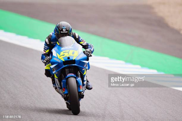 Sylvain Guintoli of France and Team Suzuki ECSTAR heads down a straight during the MotoGP of Japan - Free Practice at Twin Ring Motegi on October 18,...