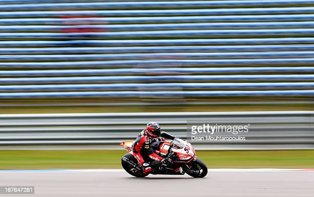 Sylvain Guintoli of France on the Aprilia RSV4 for the Aprilia Racing Team competes during the World Superbikes Qualifying Session at TT Circuit...