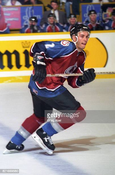 Sylvain Lefebvre of the Colorado Avalanche skates up ice against the Toronto Maple Leafs during NHL preseason game action on September 27 1995 at...