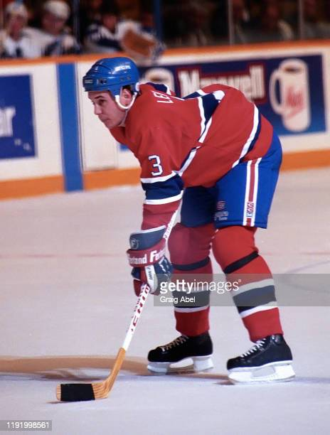 Sylvain Lefebvre of the Montreal Canadiens skates against the Toronto Maple Leafs during NHL game action on December 12 1990 at Maple Leaf Gardens in...