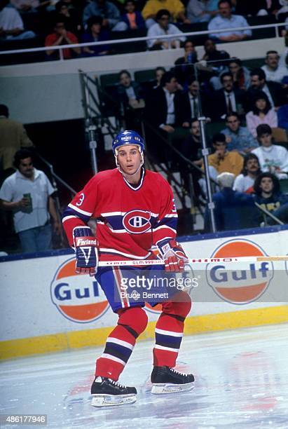 Sylvain Lefebvre of the Montreal Canadiens skates on the ice during an NHL game against the New York Islanders on March 13 1990 at the Nassau...