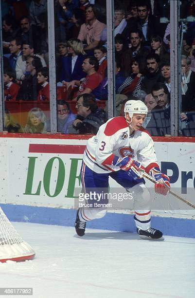 Sylvain Lefebvre of the Montreal Canadiens skates on the ice during an NHL game in January 1992 at the Montreal Forum in Montreal Quebec Canada