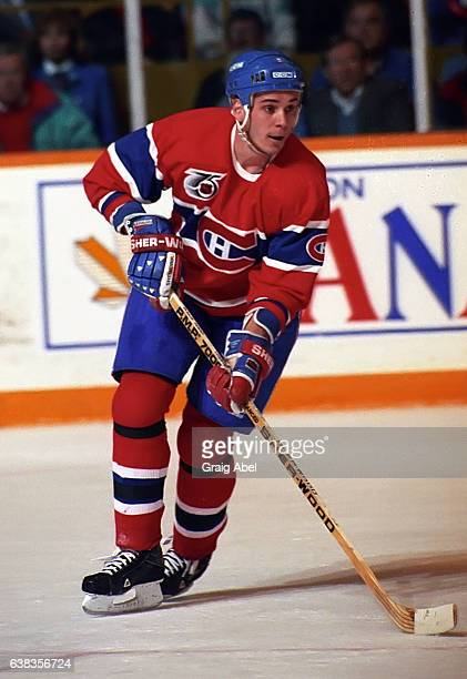 Sylvain Lefebvre of the Montreal Canadiens turns up ice against the Toronto Maple Leafs during NHL game action on December 9 1991 at Maple Leaf...