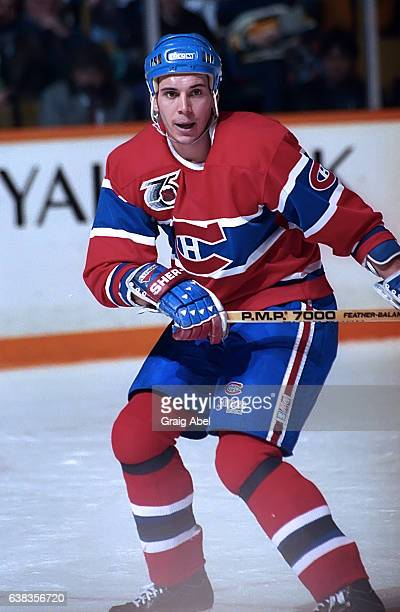 Sylvain Lefebvre of the Montreal Canadiens watches the play develop against the Toronto Maple Leafs during NHL game action on December 9 1991 at...