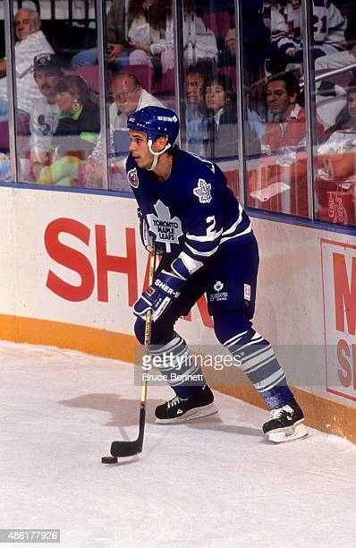 NEW YORK NY OCTOBER 6 Sylvain Lefebvre of the Toronto Maple Leafs controls the puck behind the net during an NHL game against the New York Rangers on...