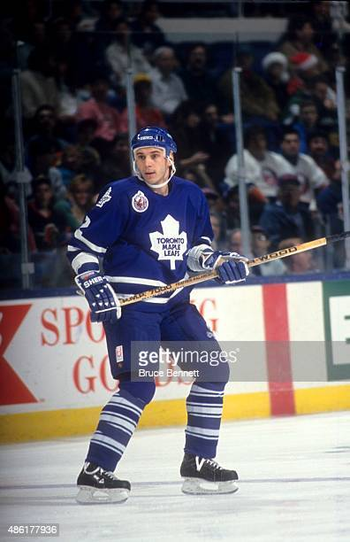Sylvain Lefebvre of the Toronto Maple Leafs skates on the ice during an NHL game against the New York Islanders on December 29 1992 at the Nassau...