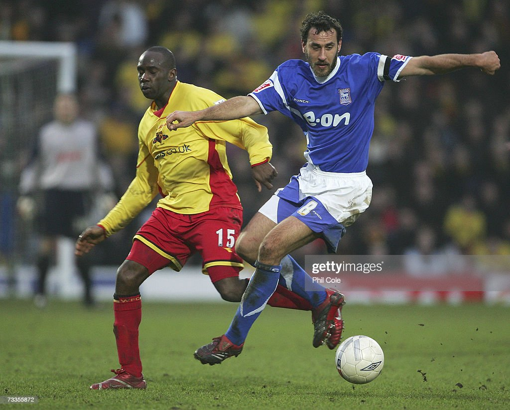 Sylvain Legwinski of Ipswich Town battles with Steven Kabba of Watford during the FA Cup sponsored by E.ON 5th Round match between Watford and Ipswich Town at Vicarage Road on February 17, 2007 in Watford, England.