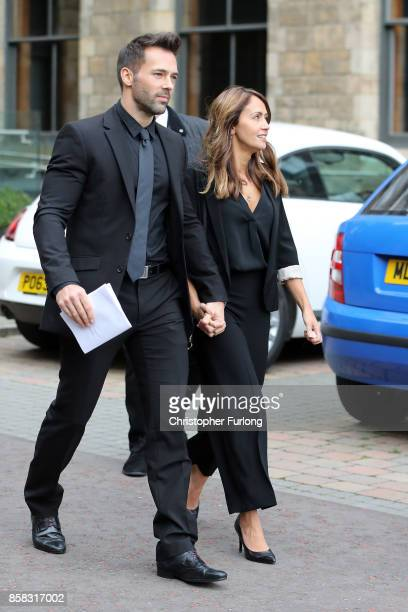 Sylvain Longchambon and Samia Longchambon depart the funeral of actress Liz Dawson at Salford Cathedral on October 6 2017 in Salford England Actress...