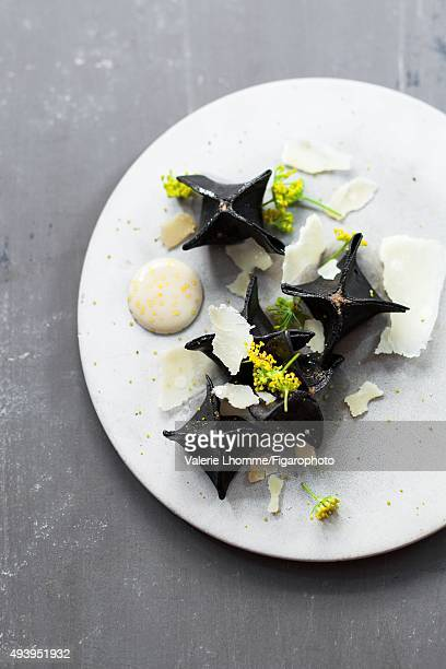 Sylvain Sendra's cappelletti with mushrooms and parmesanrosemary sauce is photographed for Madame Figaro on July 1 2015 in Paris France PUBLISHED...
