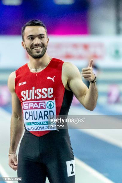 Sylvain SUI competing in the 60m Men SemiFinals event during day TWO of the European Athletics Indoor Championships 2019 at Emirates Arena in Glasgow...