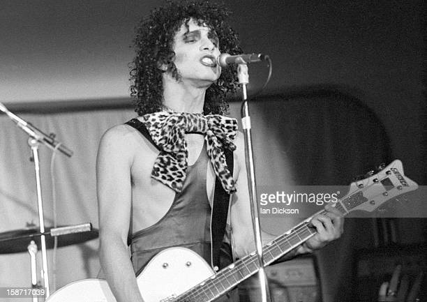 Sylvain Sylvain of New York Dolls performs on stage at the Rainbow Room at the fashion store Biba in Kensington, London on 26th November 1973.